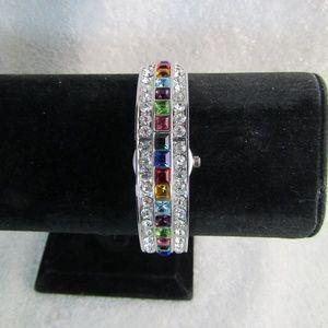 PARK LANE Rhinestone Hidden Watch Bracelet